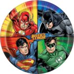 JUSTICE LEAGUE ROUND 9IN PLATES PK8