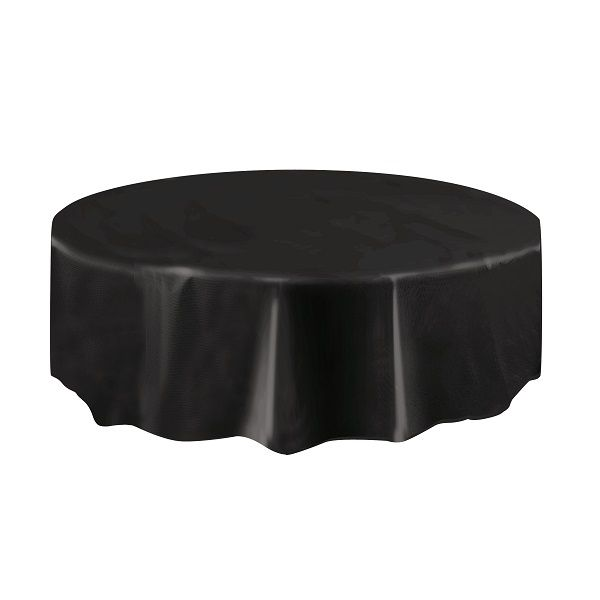 BLACK ROUND TABLECOVER 84IN