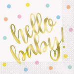 16 HELLO BABY GOLD BSHWR LUN NAPKINS