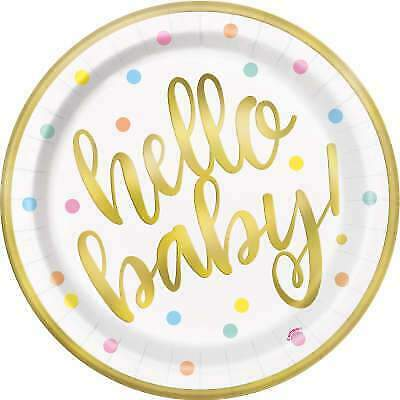 8 HELLO BABY GOLD BSHWR 9″ PLATES