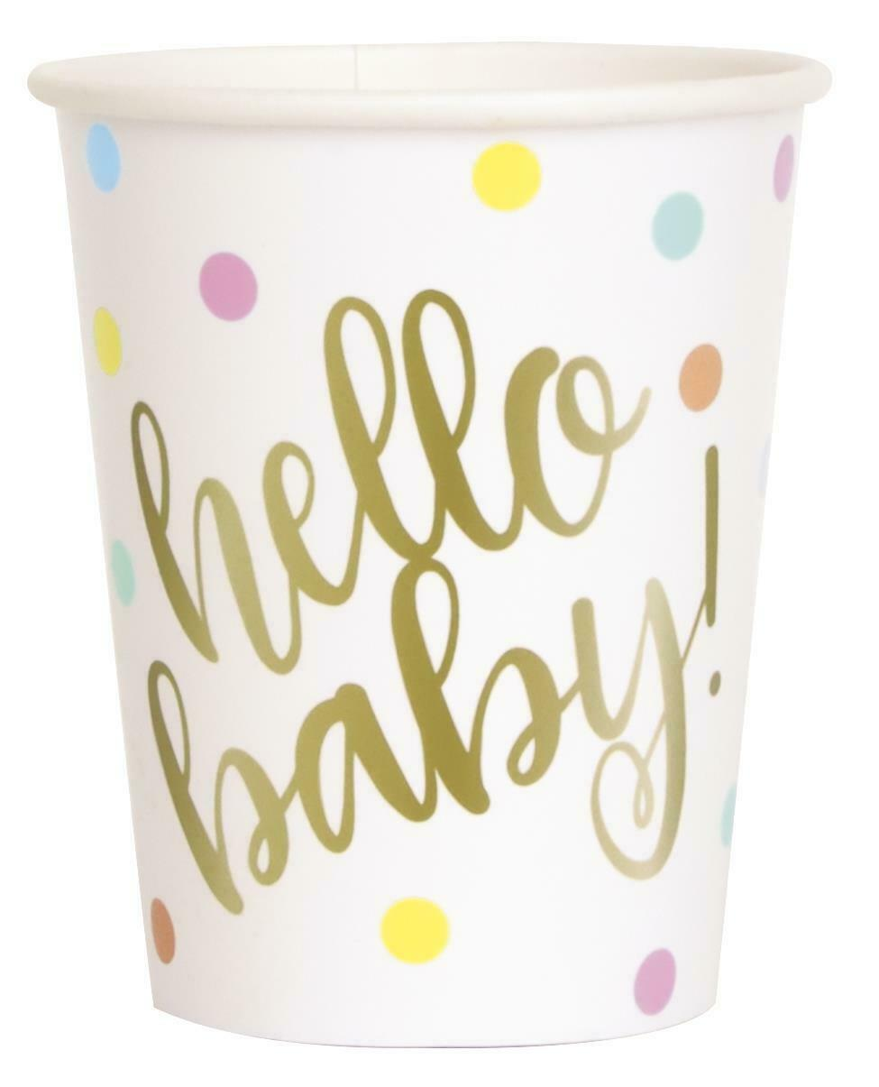 8 HELLO BABY GOLD BSHWR 9OZ CUPS