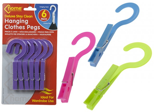 6PCE DLX STAY CLEAN HANGING CLOTHES PEGS