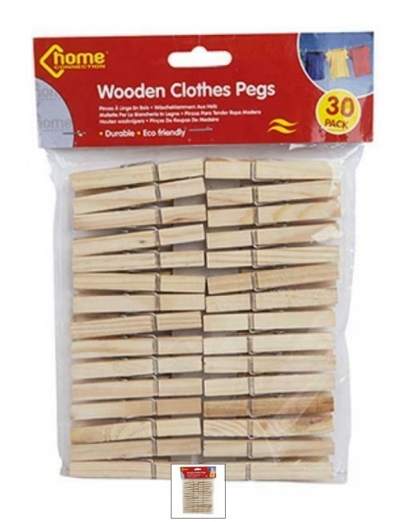 30PC WOODEN CLOTHES PEGS IN POLYBAG