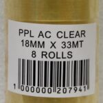 18MMX33M CLEAR POLY TAPE X 8